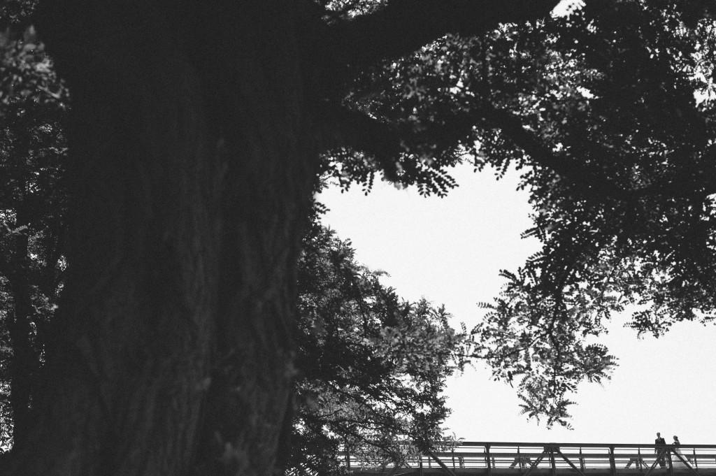 Brautpaar Portrait auf einer Brücke