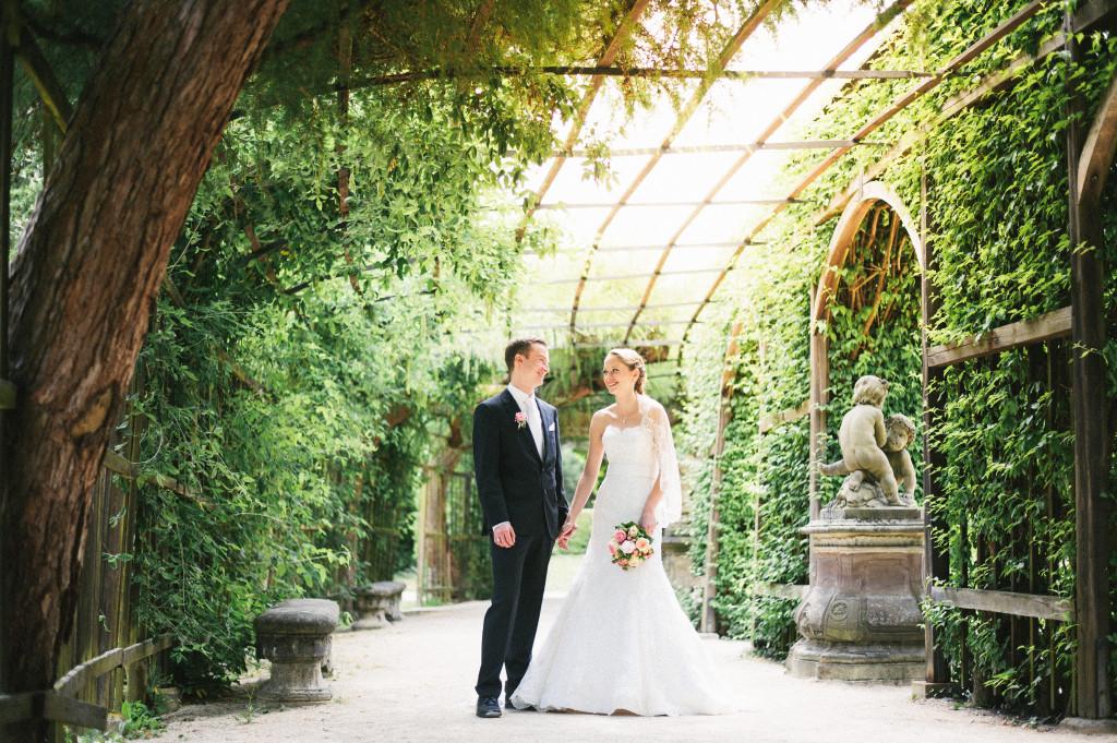 Brautpaar Portrait im Residenzgarten von Würzburg